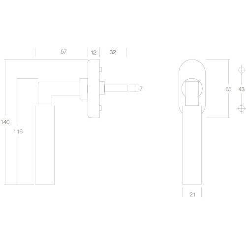 Intersteel Raamkruk Bau-stil chroom - Technische tekening