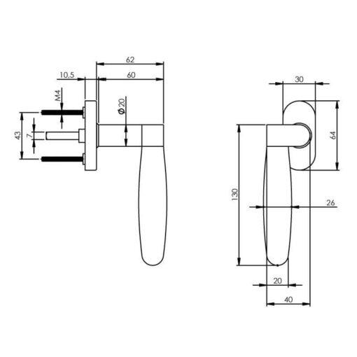 Intersteel Raamkruk Erik Munnikhof Dock Ton links INOX gepolijst - Technische tekening