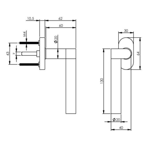 Intersteel Raamkruk Erik Munnikhof Dock Wood links INOX geborsteld - Technische tekening