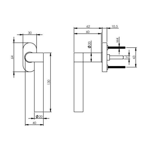 Intersteel Raamkruk Erik Munnikhof Dock Wood rechts INOX geborsteld - Technische tekening