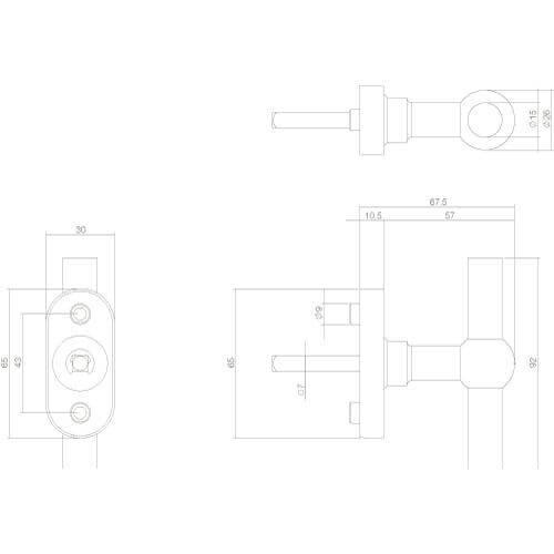 Intersteel Raamkruk T-vorm INOX geborsteld - Technische tekening