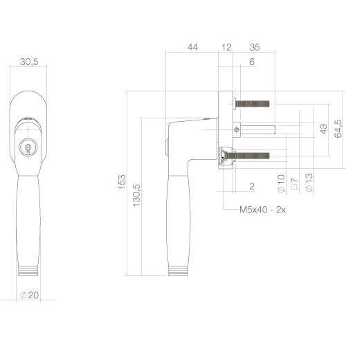 Intersteel Raamkruk Ton 222 afsluitbaar op ovaal rozet chroom/ebben hout - Technische tekening