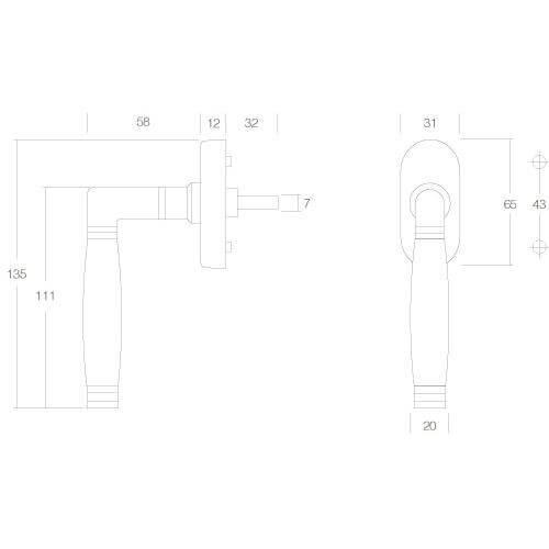Intersteel Raamkruk Ton 222 nikkel/ebbenhout - Technische tekening