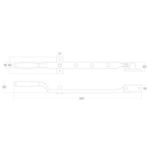 Intersteel Raamuitzetter nikkel mat - Technische tekening