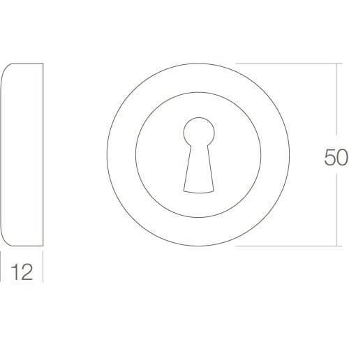 Intersteel Rozet Cali met sleutelgat mat zwart - Technische tekening