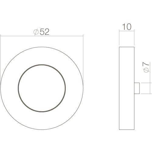 Intersteel Rozet Cali met sleutelgat verdekt chroom - Technische tekening