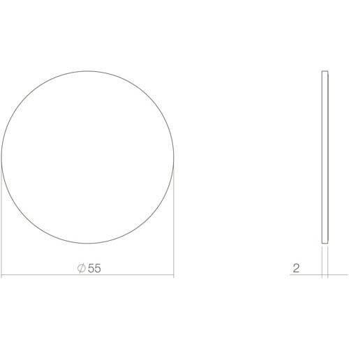 Intersteel Rozet blind zelfklevend INOX geborsteld - Technische tekening