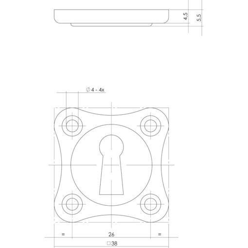 Intersteel Rozet klaverblad sleutelgat nikkel mat - Technische tekening