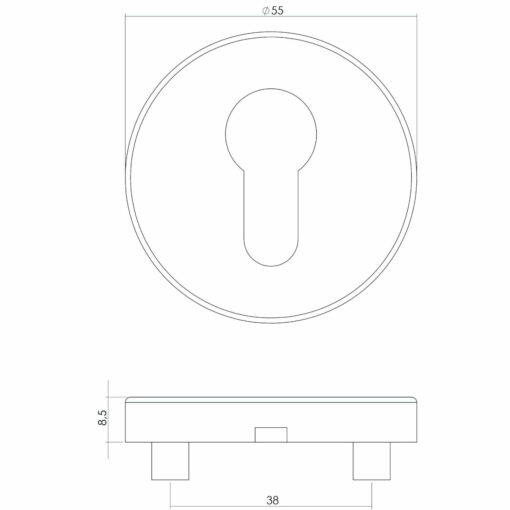 Intersteel Rozet met profielcilindergat INOX geborsteld - Technische tekening