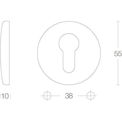 Intersteel Rozet met profielcilindergat bol rond verdekt nikkel - Technische tekening