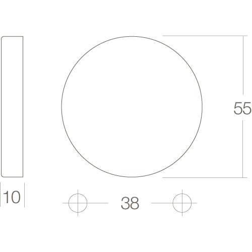 Intersteel Rozet met sleutelgat bol rond verdekt chroom - Technische tekening