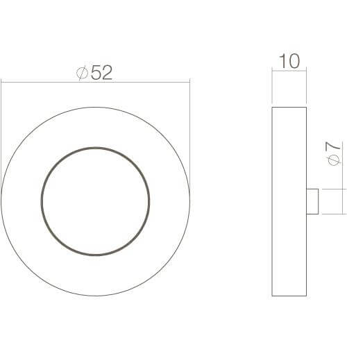 Intersteel Rozet met sleutelgat rond chroom - Technische tekening