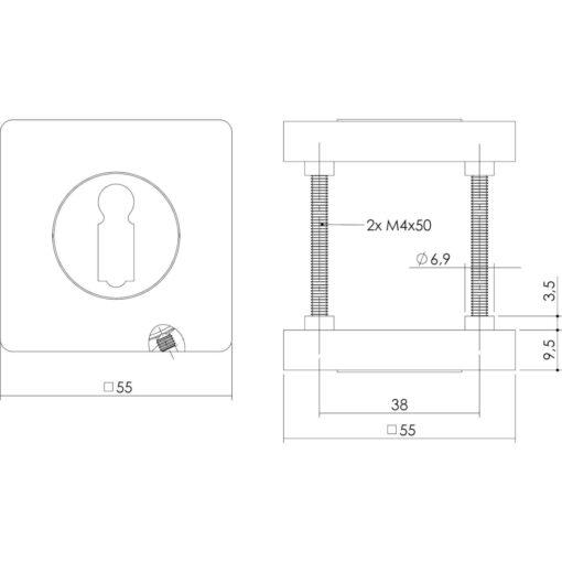 Intersteel Rozet met sleutelgat vierkant chroom - Technische tekening