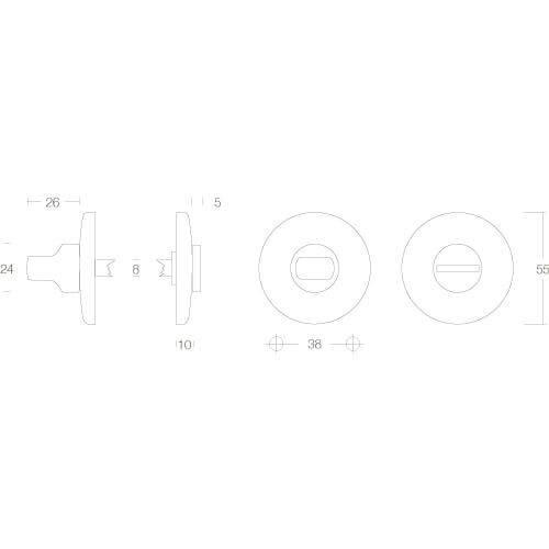Intersteel Rozet met toilet-/badkamersluiting bol rond verdekt chroom - Technische tekening