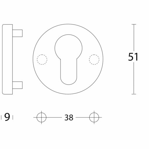 Intersteel Rozet profielcilindergat aluminium - Technische tekening