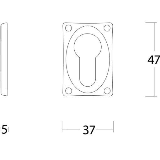 Intersteel Rozet profielcilindergat rechthoekig verlengd nikkel mat - Technische tekening