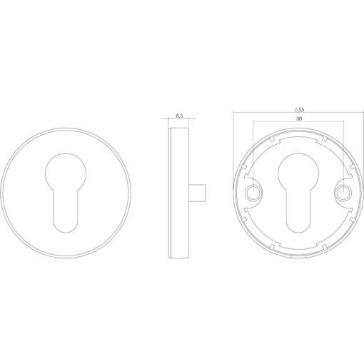 Intersteel Rozet profielcilindergat rond INOX geborsteld - Technische tekening