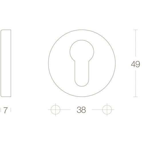 Intersteel Rozet profielcilindergat rond Koper getrommeld - Technische tekening