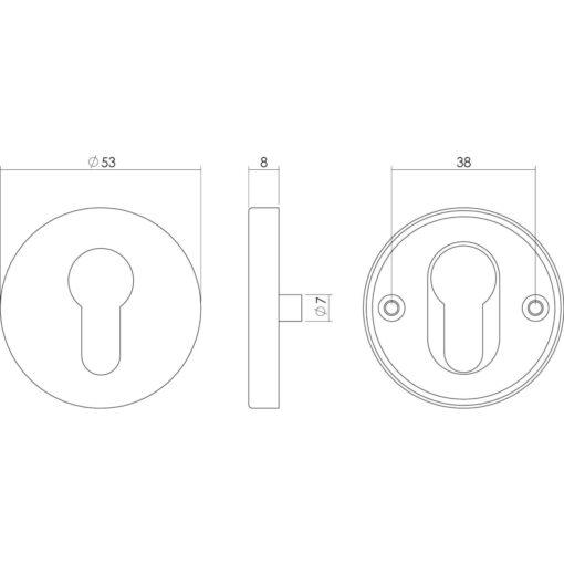 Intersteel Rozet profielcilindergat rond nokken INOX geborsteld 53mm - Technische tekening