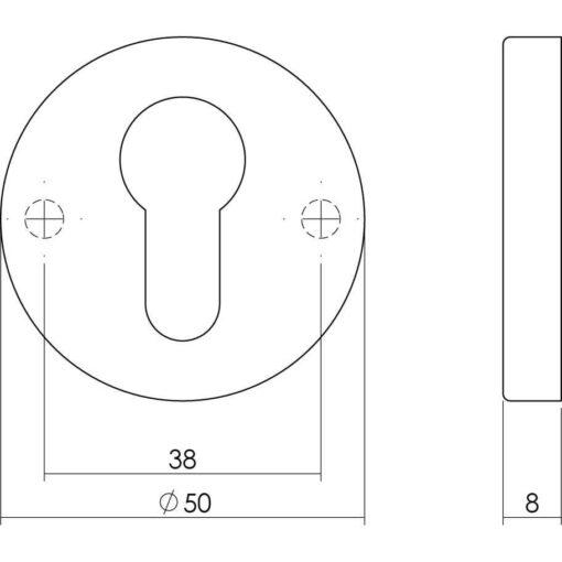 Intersteel Rozet profielcilindergat rond verdekt Koper gebruineerd - Technische tekening
