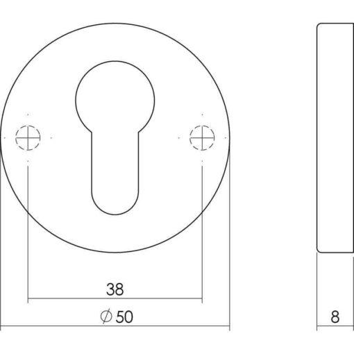 Intersteel Rozet profielcilindergat rond verdekt Koper gelakt - Technische tekening