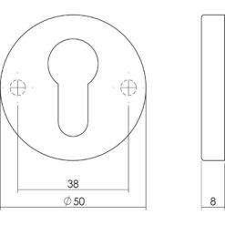 Intersteel Rozet profielcilindergat rond verdekt chroom - Technische tekening
