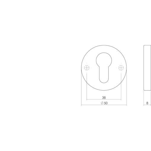 Intersteel Rozet profielcilindergat rond verdekt nikkel mat - Technische tekening