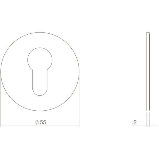 Intersteel Rozet profielcilindergat rond zelfklevend plat mat zwart - Technische tekening