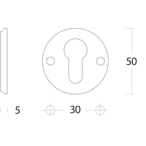 Intersteel Rozet profielcilindergat schroefgat Koper gelakt - Technische tekening