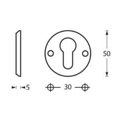 Intersteel Rozet profielcilindergat schroefgat chroom - Technische tekening