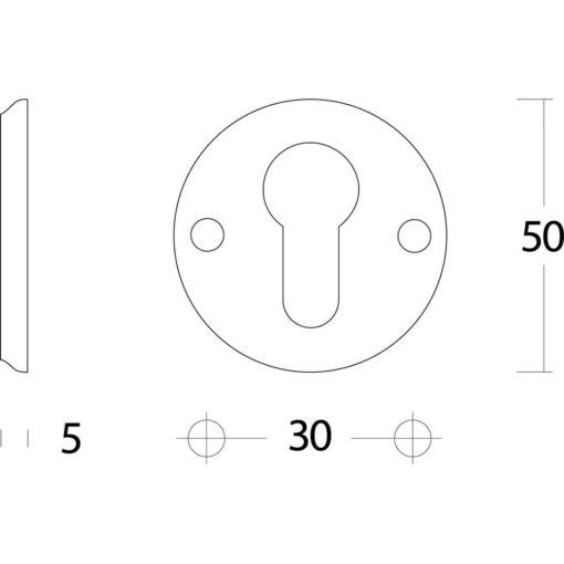 Intersteel Rozet profielcilindergat schroefgat nikkel - Technische tekening