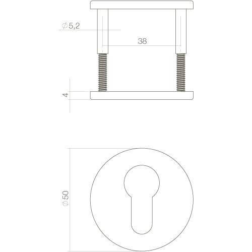Intersteel Rozet profielcilindergat verdekt INOX geborsteld - Technische tekening