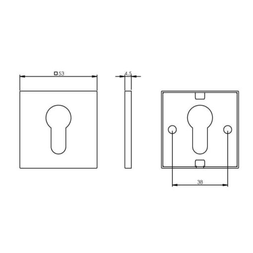Intersteel Rozet profielcilindergat vierkant plat INOX geborsteld - Technische tekening