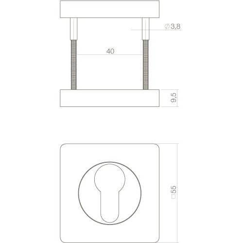 Intersteel Rozet profielcilindergat vierkant verlengd mat zwart - Technische tekening