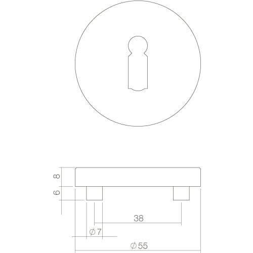 Intersteel Rozet rond 55 mm met sleutelgat INOX geborsteld - Technische tekening