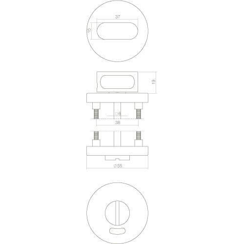 Intersteel Rozet rond 55 mm met toilet-/badkamersluiting 8 mm INOX geborsteld - Technische tekening