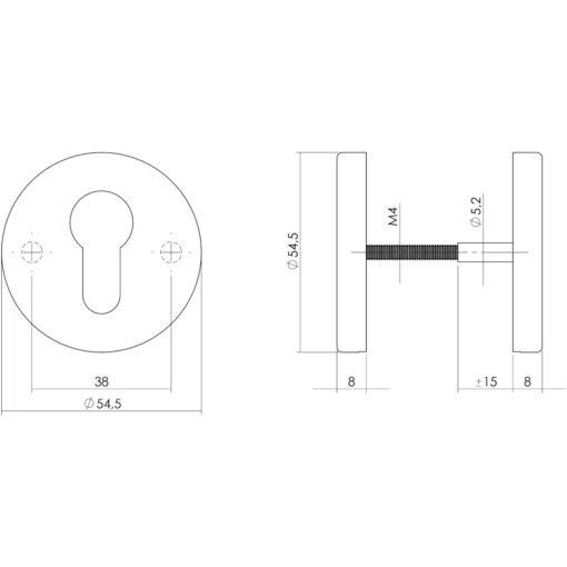 Intersteel Rozet rond met profielcilindergat INOX geborsteld - Technische tekening