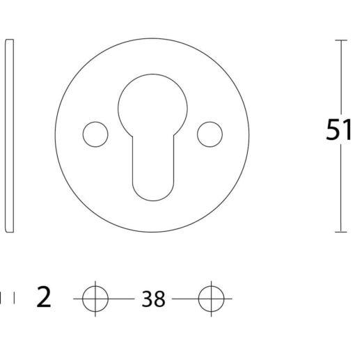 Intersteel Rozet rond plat 50 mm profielcilindergat plat INOX geborsteld - Technische tekening