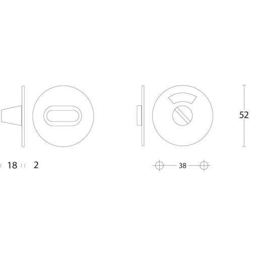 Intersteel Rozet rond plat 50 mm toilet-/badkamersluiting met 5 mm spil INOX geborsteld - Technische tekening