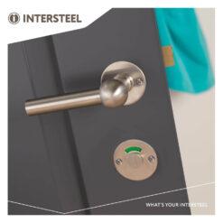 Intersteel Rozet rond plat 50 mm toilet-/badkamersluiting met 8 mm spil INOX geborsteld - Sfeerbeeld