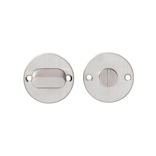 Intersteel Rozet rond plat 50 mm toilet-/badkamersluiting zonder venster met 8 mm spil INOX geborsteld