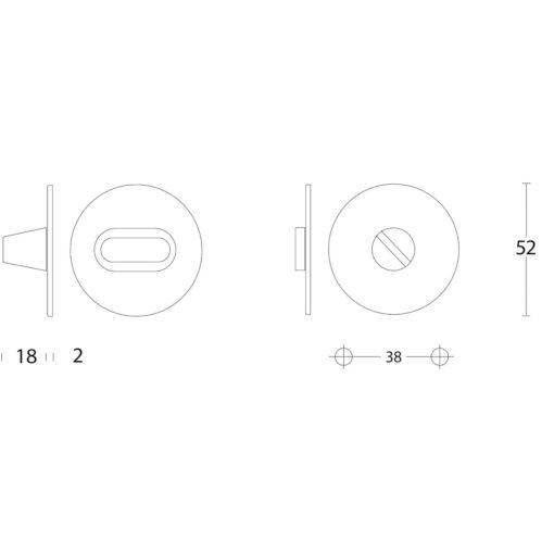 Intersteel Rozet rond plat 50 mm toilet-/badkamersluiting zonder venster met 8 mm spil INOX geborsteld - Technische tekening
