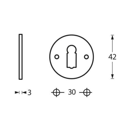 Intersteel Rozet rond sleutelgat plat chroom - Technische tekening