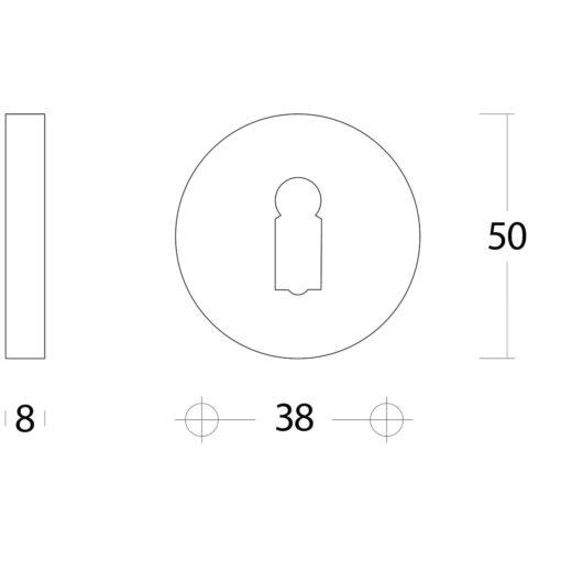 Intersteel Rozet rond verdekt met sleutelgat Koper gelakt - Technische tekening