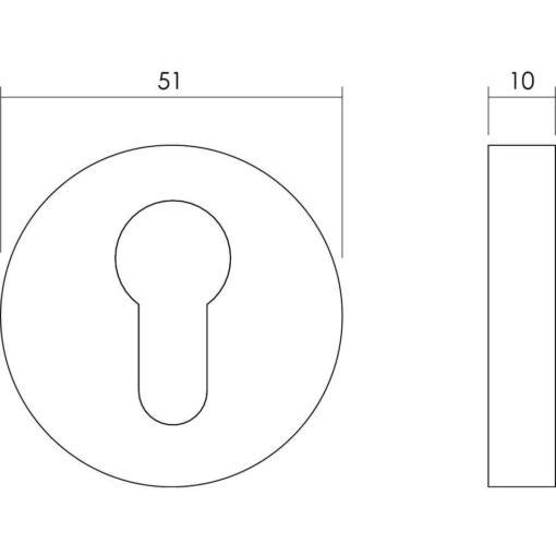 Intersteel Rozet set rond met profielcilindergat INOX geborsteld - Technische tekening