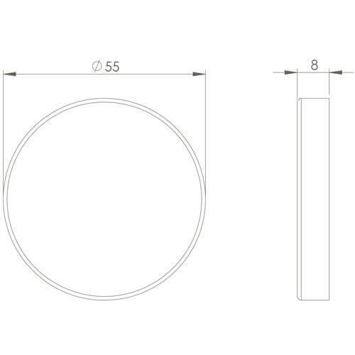 Intersteel Rozet sleutelgat INOX gepolijst - Technische tekening
