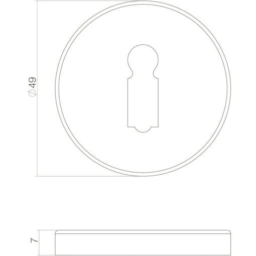 Intersteel Rozet sleutelgat Koper gebruineerd - Technische tekening