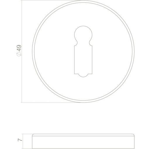 Intersteel Rozet sleutelgat Koper ongelakt - Technische tekening
