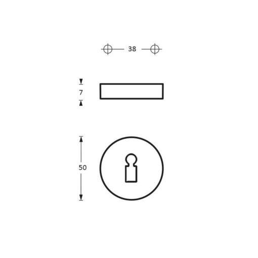 Intersteel Rozet sleutelgat Koper titaan PVD - Technische tekening