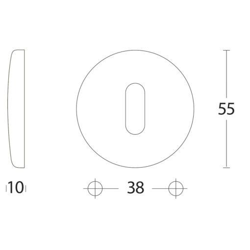 Intersteel Rozet sleutelgat bol rond Koper gelakt - Technische tekening